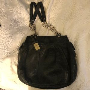 Grey patent leather Alexis Hudson bag